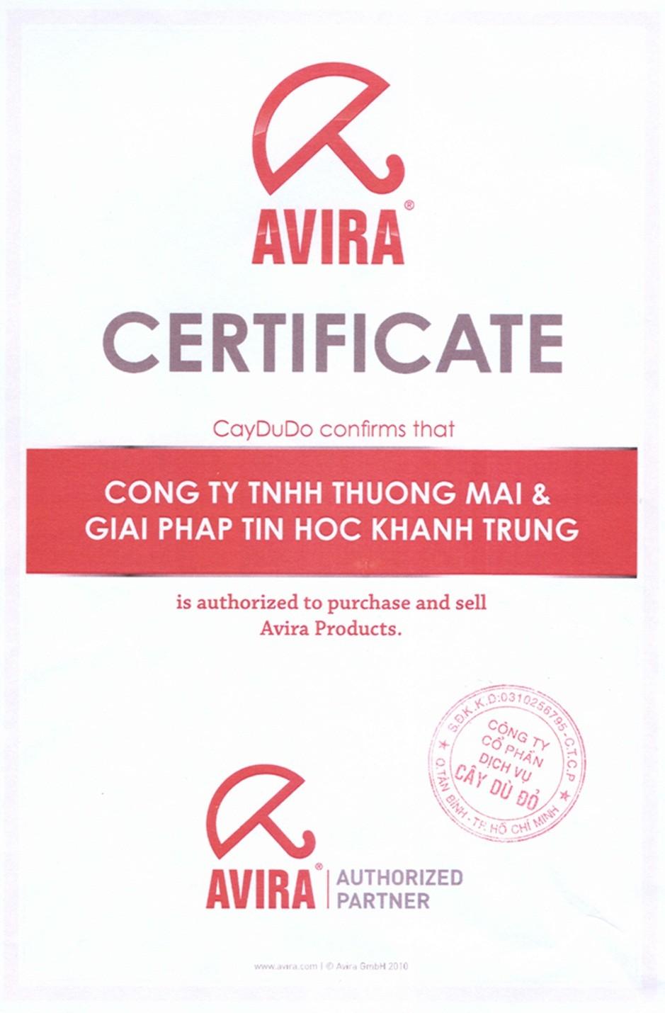 Đại lý/nhà cung cấp sản phẩm Avira